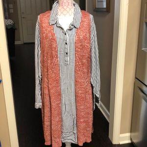 ND Curvy Sweater Vest in Persimmon & Cream size 2X